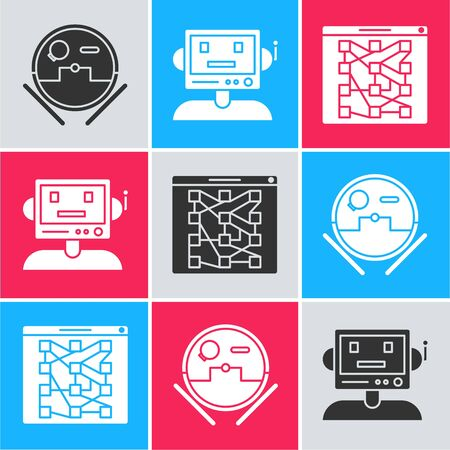 Set Robot vacuum cleaner, Robot and Global technology or social network icon. Vector