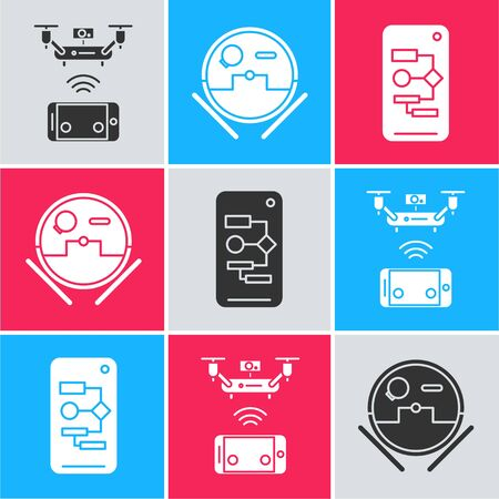 Set Remote aerial drone, Robot vacuum cleaner and Algorithm icon. Vector Vettoriali