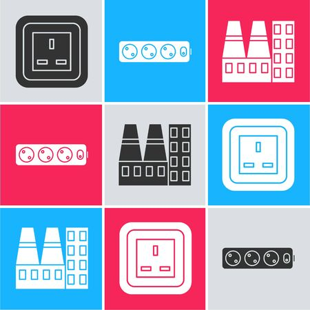 Set Electrical outlet, Electric extension cord and Power station plant and factory icon. Vector