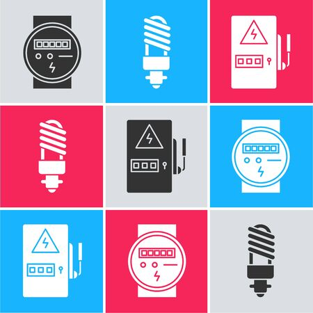 Set Electric meter, LED light bulb and Electrical panel icon. Vector