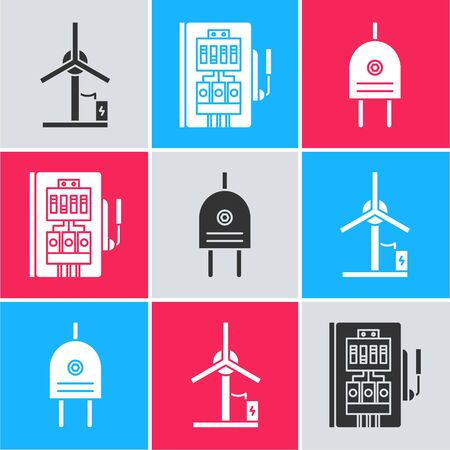 Set Wind turbine, Electrical panel and Electric plug icon. Vector Çizim