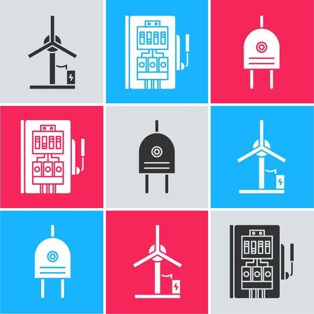 Set Wind turbine, Electrical panel and Electric plug icon. Vector Ilustração