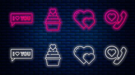 Set line Wedding cake with heart, Heart, Speech bubble with I love you and Telephone with heart speech bubble. Glowing neon icon on brick wall. Vector