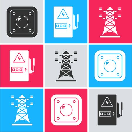 Set Electric light switch, Electrical panel and High voltage power pole line icon. Vector