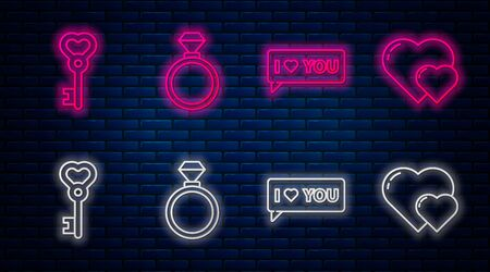 Set line Wedding rings, Speech bubble with I love you, Key in heart shape and Heart. Glowing neon icon on brick wall. Vector