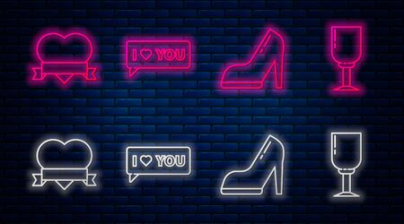 Set line Speech bubble with I love you, Woman shoe with high heel, Heart and ribbon and Wine glass. Glowing neon icon on brick wall. Vector Ilustração