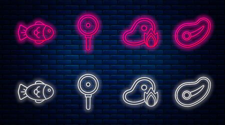 Set line Frying pan, Grilled steak meat and fire flame, Fish and Steak meat. Glowing neon icon on brick wall. Vector
