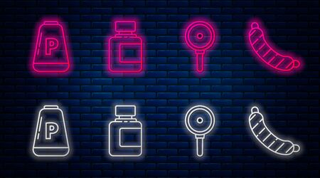 Set line Sauce bottle, Frying pan, Pepper and Sausage. Glowing neon icon on brick wall. Vector