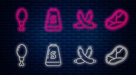 Set line Salt, Crossed sausage, Chicken leg and Steak meat. Glowing neon icon on brick wall. Vector