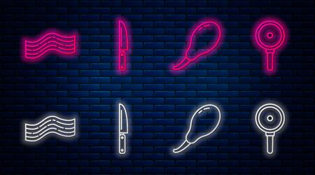Set line Knife, Chicken leg, Bacon stripe and Frying pan. Glowing neon icon on brick wall. Vector
