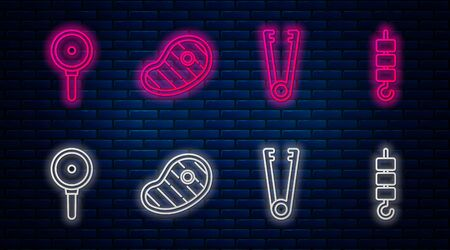 Set line Steak meat, Meat tongs, Frying pan and Grilled shish kebab on skewer stick. Glowing neon icon on brick wall. Vector