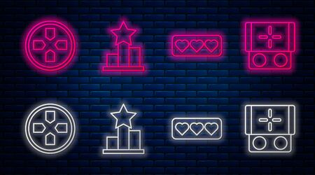 Set line Star, Like and heart, Gamepad and Portable video game console. Glowing neon icon on brick wall. Vector