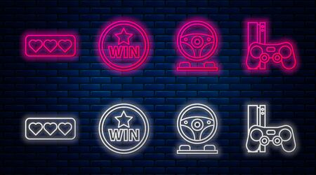 Set line Medal, Racing simulator cockpit, Like and heart and Game console with joystick. Glowing neon icon on brick wall. Vector Illustration