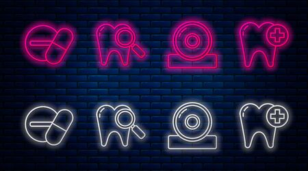 Set line Dental search, Otolaryngological head reflector, Medicine pill or tablet and Tooth. Glowing neon icon on brick wall. Vector