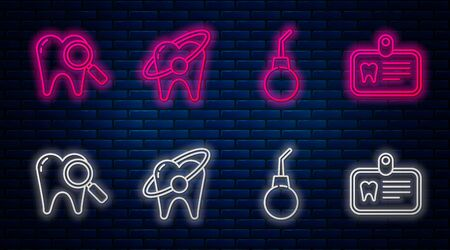 Set line Tooth whitening concept, Enema pear, Dental search and Id card with tooth. Glowing neon icon on brick wall. Vector