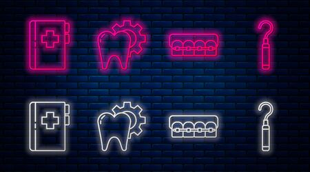 Set line Tooth treatment procedure, Teeth with braces, Clipboard with dental card and Dental explorer scaler for teeth. Glowing neon icon on brick wall. Vector