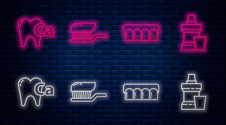 Set line Toothbrush with toothpaste, Dentures model, Calcium for tooth and Mouthwash plastic bottle. Glowing neon icon on brick wall. Vector