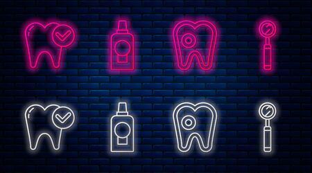Set line Mouthwash plastic bottle, Tooth with caries, Tooth whitening concept and Dental inspection mirror. Glowing neon icon on brick wall. Vector