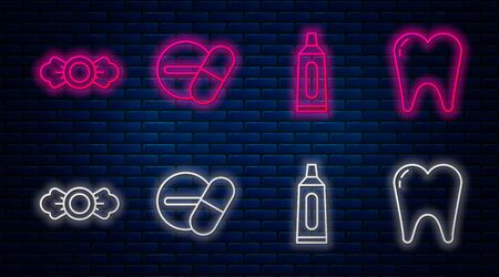Set line Medicine pill or tablet, Tube of toothpaste, Candy and Tooth. Glowing neon icon on brick wall. Vector