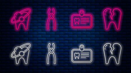 Set line Dental pliers, Id card with tooth, Tooth whitening concept and Broken tooth. Glowing neon icon on brick wall. Vector Stock Illustratie
