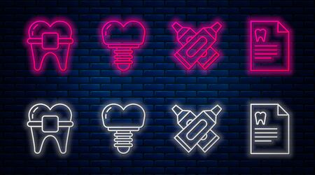 Set line Dental implant, Crossed tube of toothpaste, Teeth with braces and Clipboard with dental card. Glowing neon icon on brick wall. Vector Ilustração