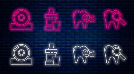 Set line Mouthwash plastic bottle, Calcium for tooth, Otolaryngological head reflector and Dental search. Glowing neon icon on brick wall. Vector