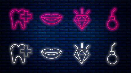 Set line Smiling lips, Diamond teeth, Dental clinic for dental care tooth and Enema pear. Glowing neon icon on brick wall. Vector