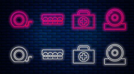 Set line Teeth with braces, First aid kit, Dental floss and Otolaryngological head reflector. Glowing neon icon on brick wall. Vector