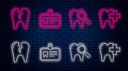 Set line Id card with tooth, Dental search, Broken tooth and Dental clinic for dental care tooth. Glowing neon icon on brick wall. Vector