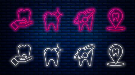 Set line Tooth whitening concept, Tooth whitening concept, Tooth and Dental clinic location. Glowing neon icon on brick wall. Vector Ilustração