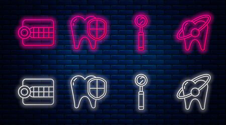 Set line Dental protection, Dental inspection mirror, Dentures model and Tooth whitening concept. Glowing neon icon on brick wall. Vector Ilustração