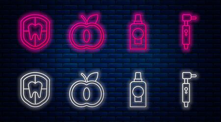 Set line Apple, Mouthwash plastic bottle, Dental protection and Tooth drill. Glowing neon icon on brick wall. Vector