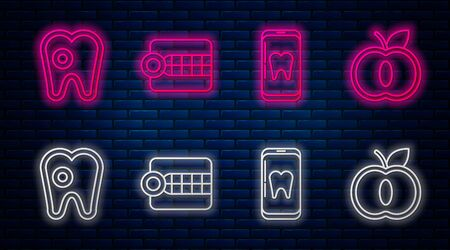 Set line Dentures model, Online dental care, Tooth with caries and Apple. Glowing neon icon on brick wall. Vector Stock Illustratie