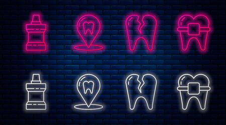 Set line Dental clinic location, Broken tooth, Mouthwash plastic bottle and Teeth with braces. Glowing neon icon on brick wall. Vector