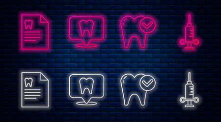 Set line Dental clinic location, Tooth whitening concept, Clipboard with dental card and Dental medical syringe. Glowing neon icon on brick wall. Vector Ilustração
