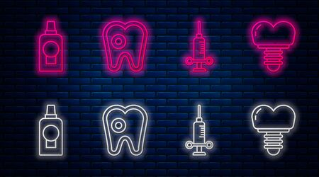 Set line Tooth with caries, Dental medical syringe, Mouthwash plastic bottle and Dental implant. Glowing neon icon on brick wall. Vector