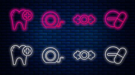 Set line Dental floss, Candy, Tooth and Medicine pill or tablet. Glowing neon icon on brick wall. Vector Ilustração