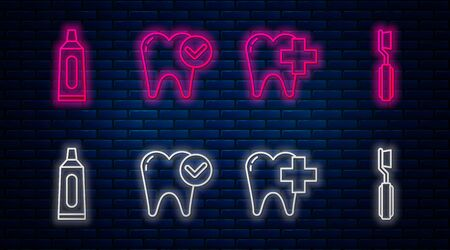 Set line Tooth whitening concept, Dental clinic for dental care tooth, Tube of toothpaste and Toothbrush. Glowing neon icon on brick wall. Vector