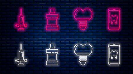 Set line Mouthwash plastic bottle, Dental implant, Dental medical syringe and Online dental care. Glowing neon icon on brick wall. Vector