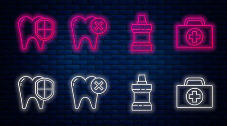 Set line Tooth with caries, Mouthwash plastic bottle, Dental protection and First aid kit. Glowing neon icon on brick wall. Vector