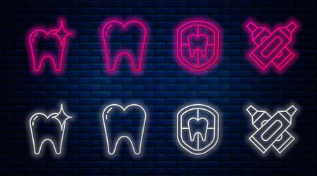 Set line Tooth, Dental protection, Tooth whitening concept and Crossed tube of toothpaste. Glowing neon icon on brick wall. Vector