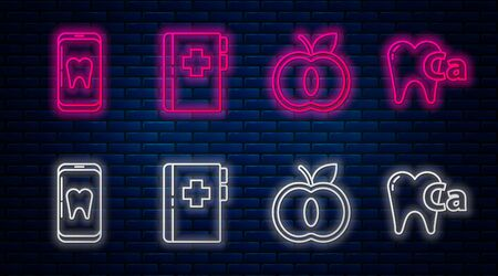 Set line Clipboard with dental card, Apple, Online dental care and Calcium for tooth. Glowing neon icon on brick wall. Vector