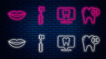 Set line Toothbrush, Dental clinic location, Smiling lips and Tooth with caries. Glowing neon icon on brick wall. Vector Stock Illustratie