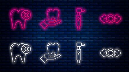 Set line Tooth, Tooth drill, Tooth with caries and Candy. Glowing neon icon on brick wall. Vector