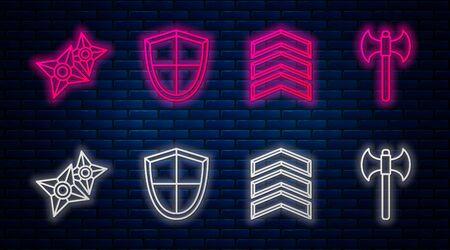 Set line Shield, Military rank, Japanese ninja shuriken and Medieval axe. Glowing neon icon on brick wall. Vector