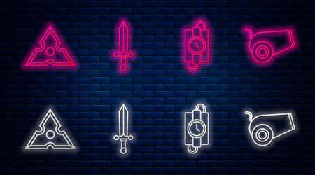 Set line Medieval sword, dynamite stick and timer clock, Japanese ninja shuriken and Cannon. Glowing neon icon on brick wall. Vector