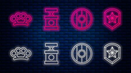 Set line Handle detonator for dynamite, Round wooden shield, Brass knuckles and Police badge. Glowing neon icon on brick wall. Vector