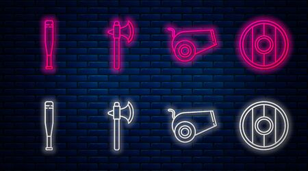 Set line Medieval axe, Cannon, Baseball bat and Round wooden shield. Glowing neon icon on brick wall. Vector