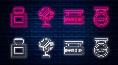 Set line Round makeup mirror, Barbershop, Aftershave and Barbershop. Glowing neon icon on brick wall. Vector Vector Illustration
