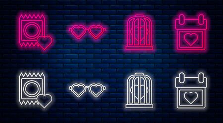 Set line Heart shaped love glasses, Heart in the bird cage, Condom in package and Calendar with heart. Glowing neon icon on brick wall. Vector